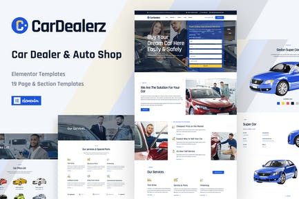CarDealerz - Auto Dealer & Auto Shop Website Elementor Template Kit