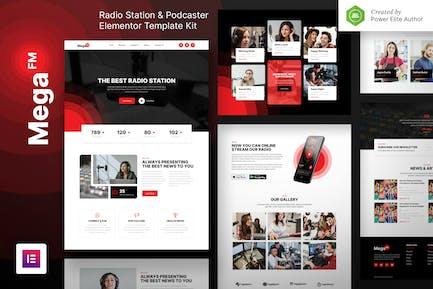 MegaFM – Radio Station & Podcaster Elementor Template Kit
