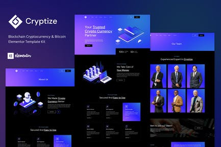 Cryptize - Blockchain Cryptocurrency & Bitcoin Elementor Template Kit