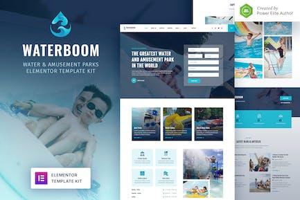 Waterboom - Template Kit Elementor para parque acuático y de atracciones