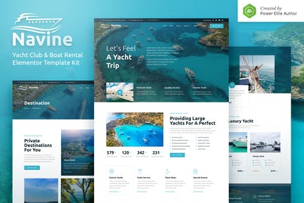 Navine - Template Kit Elementor para Yacht Club y alquiler de barcos