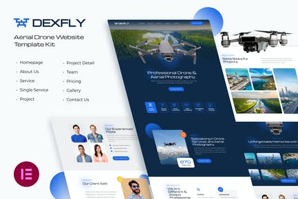Dexfly | Drone & Aerial Photography Elementor Template Kit
