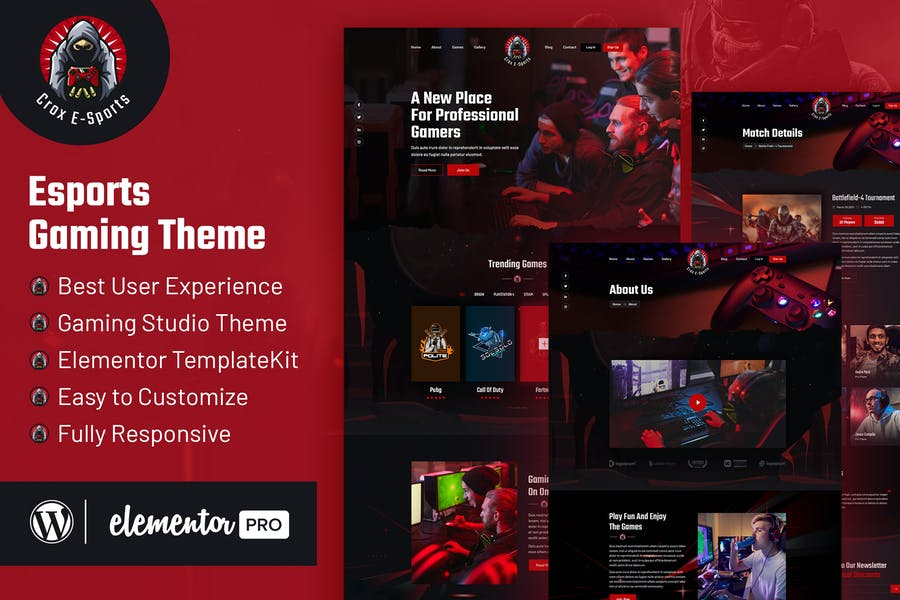 CROX |  Esports & Gaming Elementor Template Kit