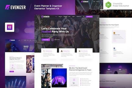 Evenizer – Event Planner & Organizer Elementor Template Kit
