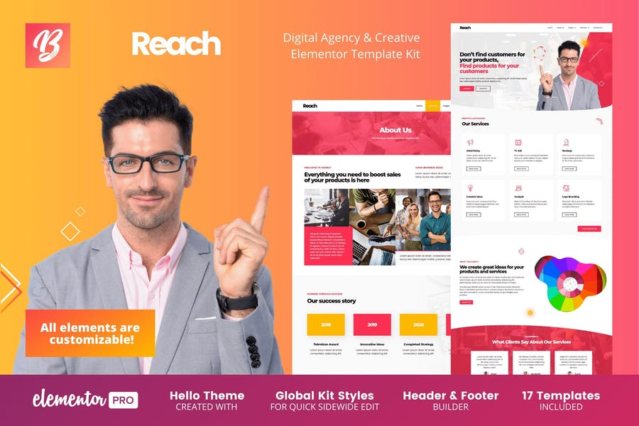 Reach - Agencia Digital y Template Kit Elementor Creativo