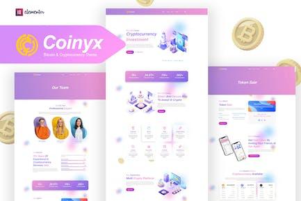 Coinyx - Cryptocurrency Blockchain & Bitcoin Elementor Template Kit
