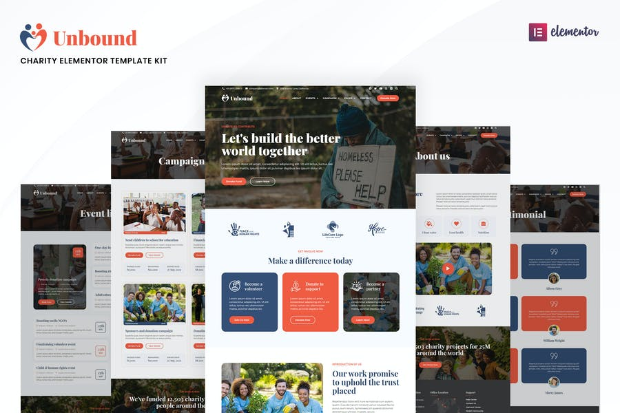 Unbound - Charity & Nonprofit Elementor Template Kit