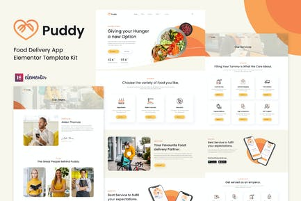 Puddy - Food Delivery App Elementor Template Kit