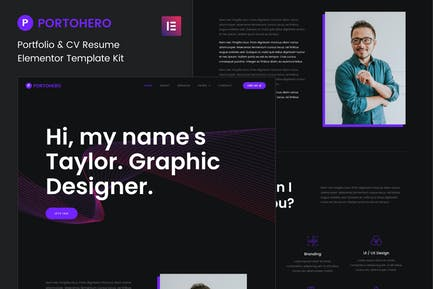 Portohero - Personal Portfolio & CV Elementor Template Kit